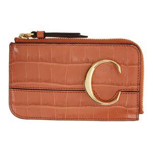 Chloe Orange Croc Small Chloe C Zip Around Card Holder  - 848 TawnyOr - Size: UNI