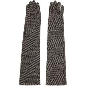Sacai Beige Wool Glen Check Long Gloves  - 651 Beige - Size: 5.5