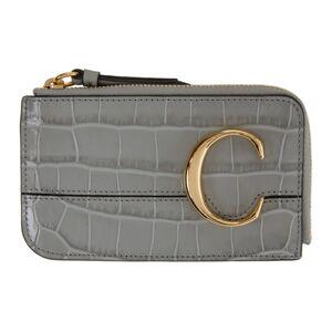 Chloe Grey Croc Small Chloe C Zip Around Card Holder  - 039 StormyG - Size: UNI
