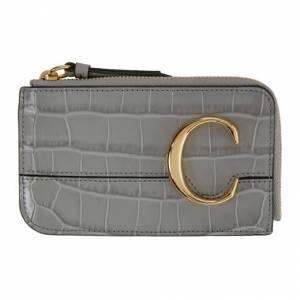 Chloe Grey Croc Small Chloe C Zip Around Card Holder  - 039 StormyG - Size: UNI