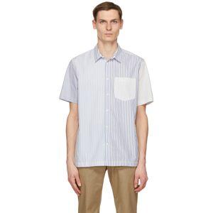 Wood Wood Blue & White Thor Short Sleeve Shirt  - BLUE STRIPE - Size: Large