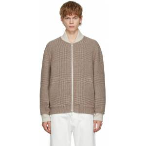 Brunello Cucinelli Beige & Brown Check Wool Bomber Jacket  - CPD36 BROWN - Size: Small