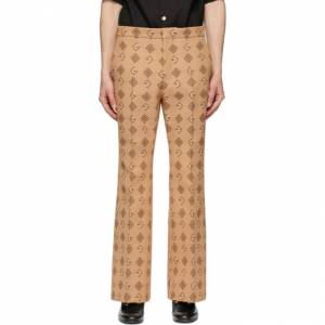 Gucci Beige and Orange Woven G Rhombus Trousers  - 91941 BEIGO - Size: 34