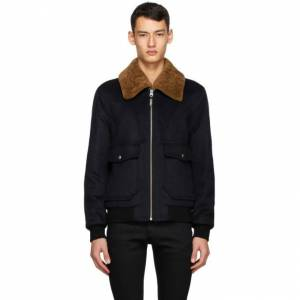 Mackage Navy Wool and Shearling Theo Bomber Jacket  - NAVY - Size: Extra Large