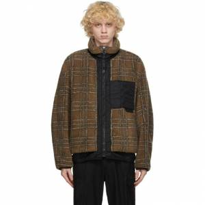 Solid Homme Beige Plaid Fleece Jacket  - 343D MUD - Size: Extra Small