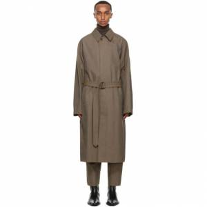 Lemaire Brown Wool Military Trench Coat  - 433 OCRE BR - Size: Medium