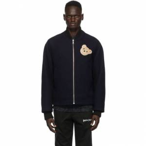 Palm Angels Navy Wool Bear Bomber Jacket  - BLUE - Size: Large