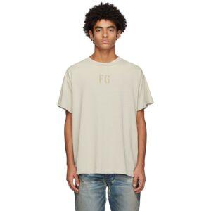 Fear of God Beige Felted FG T-Shirt  - CONC. WHITE - Size: Medium