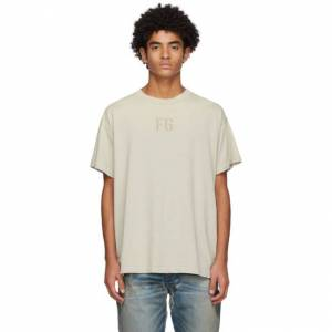 Fear of God Beige Felted FG T-Shirt  - CONC. WHITE - Size: Medium