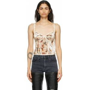 R13 Off-White Velvet Floral Corset Camisole  - Ecru Floral - Size: Extra Small