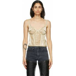 R13 Beige Velvet Corset Camisole  - Natural - Size: Extra Small