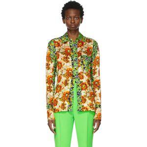 Kwaidan Editions Multicolor Floral Print Shirt  - Orange Gree - Size: Extra Small