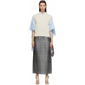MM6 Maison Margiela Off-White & Blue Scarf Back Sweater Vest  - 102F Off White - Size: Extra Small