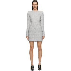 Balmain Grey Tweed Mini Dress  - 9FL Gris Clair - Size: Extra Small