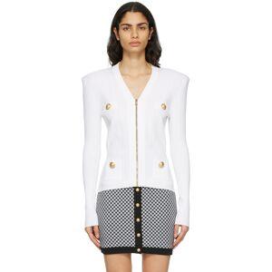 Balmain White Zipped Cardigan  - 0FA White - Size: Extra Small
