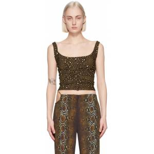 Versace Brown Leopard Tank Top  - 5N010 - Size: Extra Small
