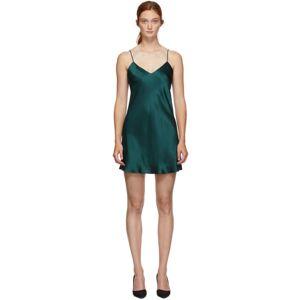 Simone Perele Green Silk Dream Slip Dress  - 0642 Peacoc - Size: Extra Large