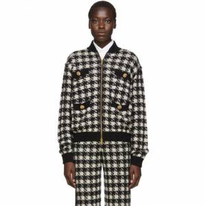 Gucci Black and Off-White Short Houndstooth Bomber  - 9207 Natura - Size: Extra Small