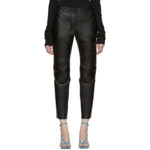 Bottega Veneta Black Leather Biker Trousers  - 1000 Black - Size: 24