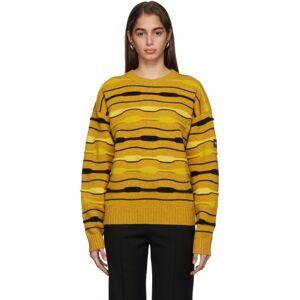 NAPA by Martine Rose Yellow Striped Knit Crewneck Sweater  - MimosaYello - Size: Medium