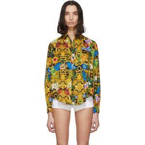 Versace Jeans Couture Multicolor Tropical Print Shirt  - E983 Black - Size: Small