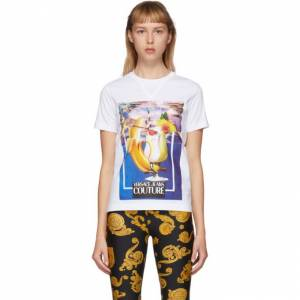 Versace Jeans Couture White Banana and Drinks T-Shirt  - E003 White - Size: Extra Small