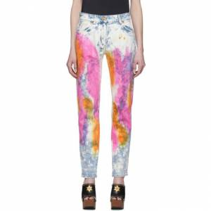 Versace Blue and White Denim Tie-Dye Jeans  - A8114 Multi - Size: 29