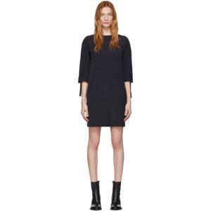 Victoria Victoria Beckham Navy Ruched Short Sleeve Dress  - Midnight Bl - Size: Large