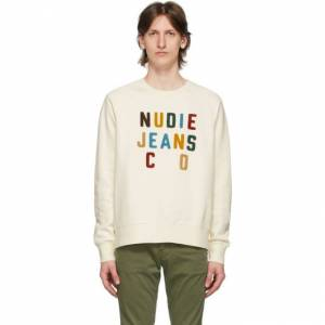 Nudie Jeans Off-White Melvin Sweatshirt  - DSTWHT - Size: Extra Large