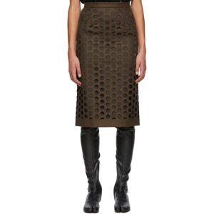 Maison Margiela Brown Melton Wool Cut-Out Skirt  - 141M Brown - Size: 32
