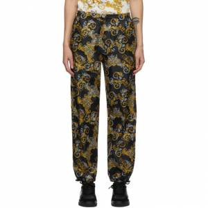Versace Jeans Couture Black Logo Baroque Pants  - E899 Black - Size: 32