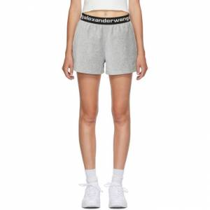 alexanderwang.t Grey Corduroy Logo Shorts  - 030 Heather - Size: 28