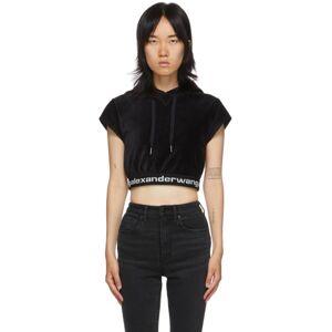 alexanderwang.t Black Cap Sleeve Logo Hoodie  - 001 Black - Size: Medium
