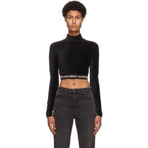 alexanderwang.t Black Corduroy Crop Logo T-Shirt  - 001 Black - Size: Medium