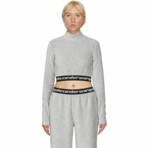 alexanderwang.t Grey Corduroy Crop Logo T-Shirt  - 030 Heather - Size: Extra Small