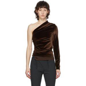 Supriya Lele Brown Velvet Ruching Off-Shoulder Blouse  - Chocolate - Size: Large