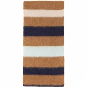Lanvin Brown Striped Scarf  - S8 Wood - Size: Extra Small