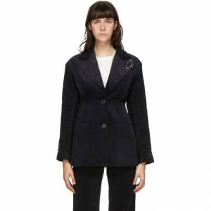 Andersson Bell Navy and Black Corduroy Brooch Smith Blazer  - Navy/Black - Size: Large