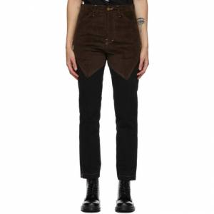 Youths in Balaclava Black and Brown Patchwork Jeans  - 1 Black - Size: 24