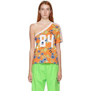 adidas LOTTA VOLKOVA Orange Floral One Shoulder T-Shirt  - Bright Oran - Size: Large