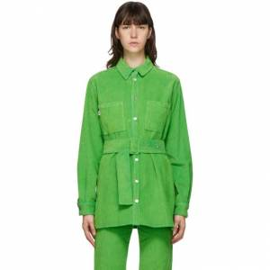 MSGM Green Cord Shirt  - 36 Green - Size: Extra Large