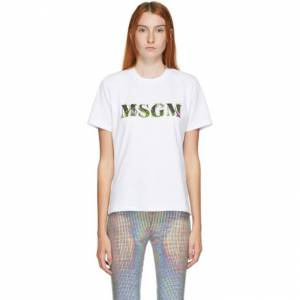 MSGM White Floral Logo T-Shirt  - 01 Optical - Size: Extra Small