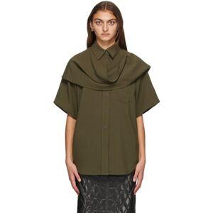 System Khaki Scarf Panel Shirt  - Dark Khaki - Size: Extra Small