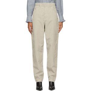 Isabel Marant Etoile Beige Corduroy Corsyv Jeans  - 23EC Ecru - Size: 24