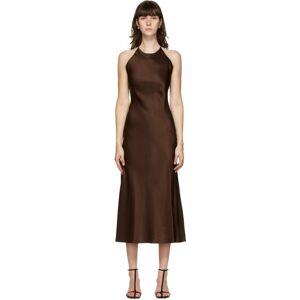 Rosetta Getty Brown Satin Slip Dress  - Chocolate - Size: Large