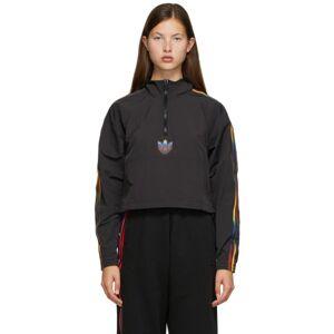 adidas Originals Black Cropped Half-Zip Adicolor Jacket  - Balck - Size: 2X-Small