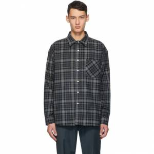 Noon Goons Black and Grey Corduroy Plaid Baseline Shirt  - BLACK PLAID - Size: Extra Large