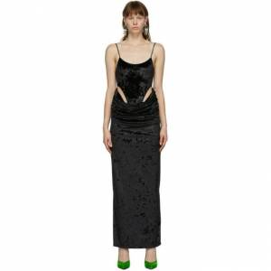 Pro-Ject Y/Project SSENSE Exclusive Black Velvet High-Cut Bodysuit Dress  - Black - Size: Medium