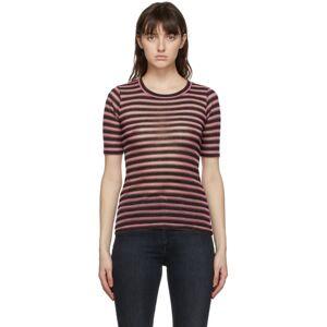 rag and bone Pink Metallic Stripe T-Shirt  - Pink Multi - Size: Extra Small
