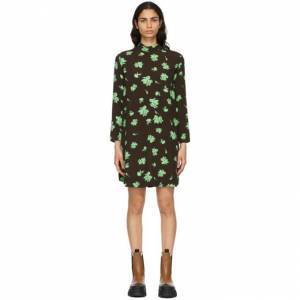 GANNI Brown Crepe Printed Mini Dress  - 897 Mole - Size: Small